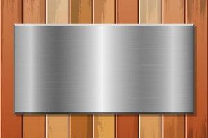 Placa metálica en la ilustración de diseño de vector de fondo de madera