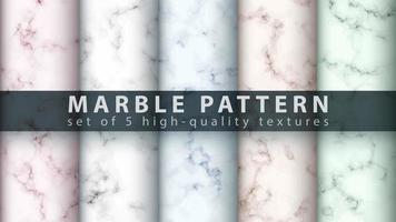 Marble texture pattern background set vector