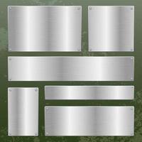 Metallic plate on metallic background vector design illustration