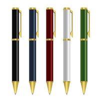 Ballpoint pen set vector design illustration isolated on white background