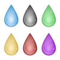 Ilustración de diseño de vector de conjunto de gota de líquido de color aislado sobre fondo blanco