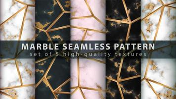 Marble seamless texture pattern background set with gold lines vector