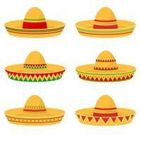 Ilustración de diseño de vector de conjunto de sombrero mexicano aislado sobre fondo blanco