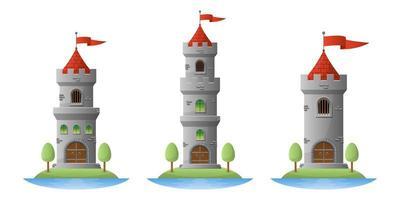 Ilustración de diseño de vector de castillo medieval aislado sobre fondo blanco