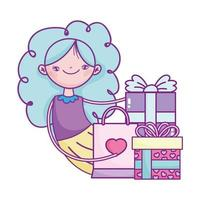 happy valentines day, girl with gifts and shopping bag celebration