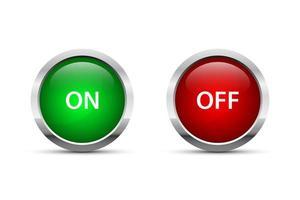 Ilustración de diseño de vector de botón de encendido y apagado aislado sobre fondo blanco