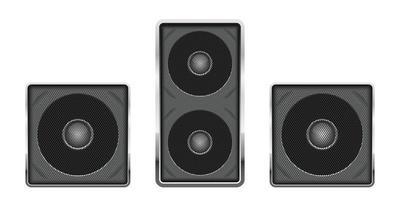 Ilustración de diseño de vector de altavoz de audio aislado sobre fondo blanco
