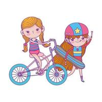 happy childrens day, cute girl skateboard and bicycle in the park vector