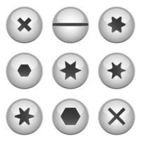 Ilustración de diseño de vector de conjunto de perno de tornillo aislado sobre fondo blanco