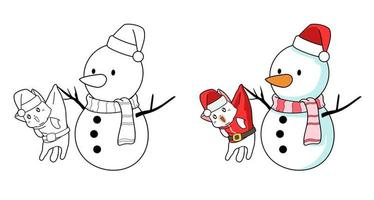 Santa cat and snowman cartoon coloring page for kids