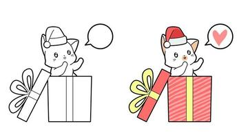 Cat in the box cartoon coloring page for kids