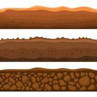 Ilustración de diseño de vector de sección de tierra perfecta aislada sobre fondo blanco