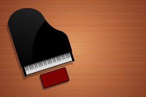 Piano top view on wooden floor vector design illustration
