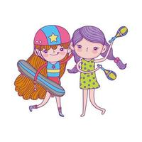 happy childrens day, cute girls with skateboard and maracas cartoon vector