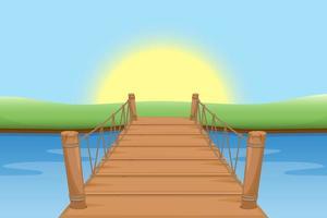 Wooden bridge vector design illustration