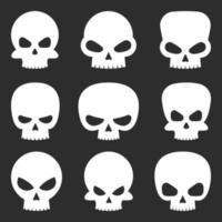 Ilustración de diseño de vector de conjunto de cráneo aislado sobre fondo