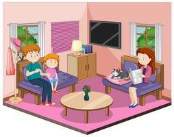 familia feliz en la sala de estar con muebles en tema rosa vector