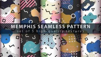Conjunto de fondo de patrones sin fisuras de estilo memphis vector