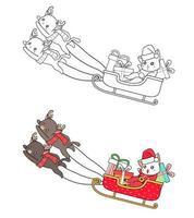 Santa en una página para colorear de dibujos animados de trineo para niños