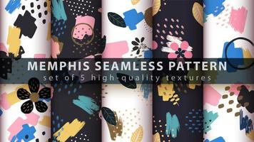 Memphis style seamless pattern background set vector