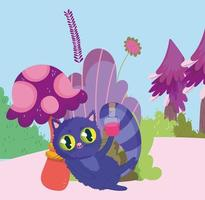 país de las maravillas, gato con botella de elixir dibujos animados de follaje de setas vector