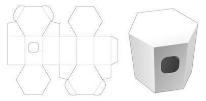 Plantilla troquelada caja hexagonal de tejido de cartón