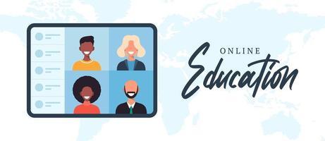 Educación en línea mundial, e-learning, concepto de curso en línea. vector
