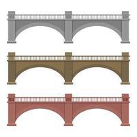 Ilustración de diseño de vector de puente de piedra aislado sobre fondo blanco