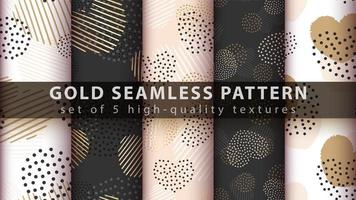 Gold, glitter and love seamless pattern background set vector