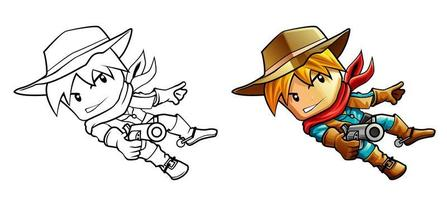 Wild west sheriff cartoon coloring page for kids vector
