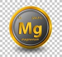 Magnesium chemical element. Chemical symbol with atomic number and atomic mass.