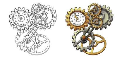 Machine cartoon coloring page for kids vector
