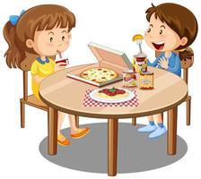 Dos linda chica disfrutan comiendo con comida en la mesa sobre fondo blanco. vector