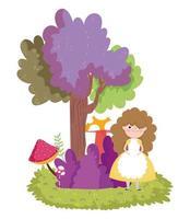 girl forest tree bush mushroom nature vector