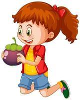 niña feliz sosteniendo mangostán vector