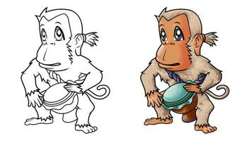Cute monkey cartoon coloring page for kids