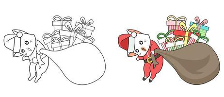 Santa cat with gifts cartoon easily coloring page for kids