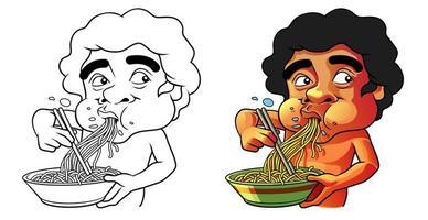 comiendo página para colorear de dibujos animados para niños vector