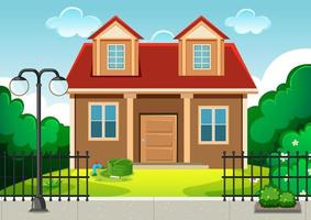 Empty scene with home building in nature vector