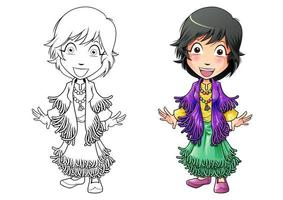 Girl cartoon coloring page for kids vector