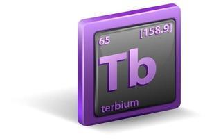 elemento químico terbio. símbolo químico con número atómico y masa atómica.