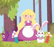 girl with rabbit tree forest mushroom grass in wonderland vector