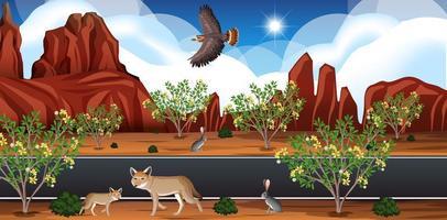 Wild desert landscape at daytime scene vector