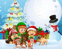 Christmas outdoor scene with many children and cute dogs vector