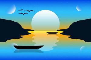 Ilustración de diseño de vector de fondo de paisaje de puesta de sol. paisaje de la naturaleza