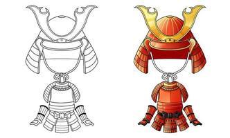 página para colorear de dibujos animados de armadura samurai para niños vector