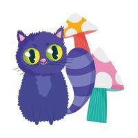 país de las maravillas, gato con personaje de dibujos animados de setas vector