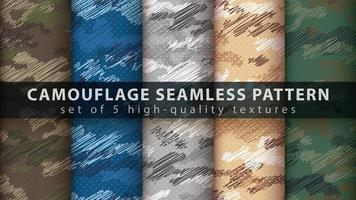 Camouflage military seamless pattern background set