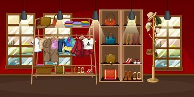 Clothes hanging on a clothes rack with accessories on shelves in the room scene vector