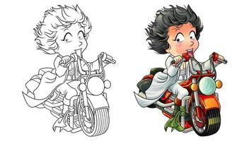 Cute rider cartoon coloring page for kids